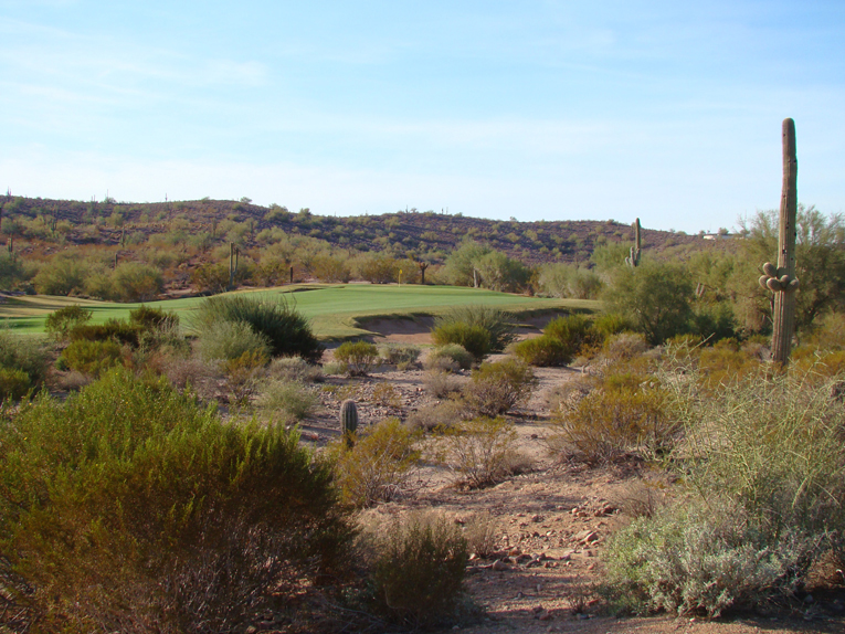 … the golfer has to carry this impressive array of disaster to reach the elevated green which is open from the right.