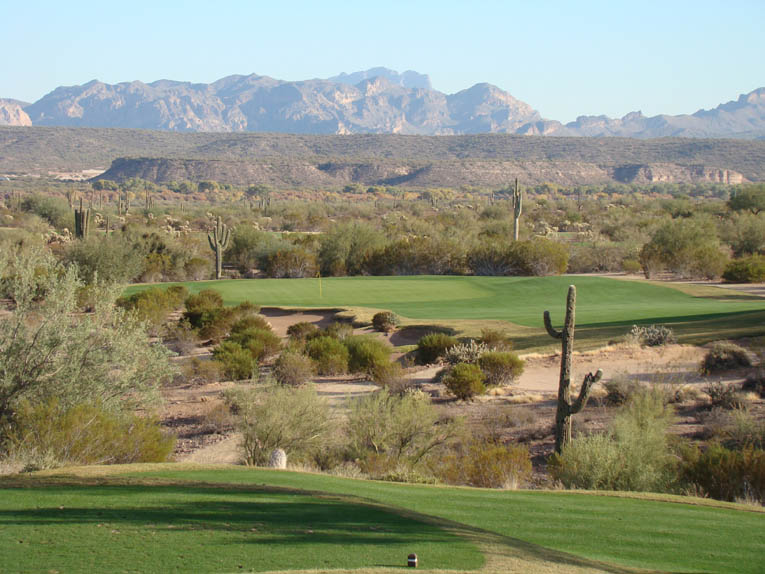 The Sagauro Course at We-Ko-Pa offers the best of both worlds: Traditional, walking friendly golf found in a captivating desert setting free of outside disturbances. Above is a view from the 255 yard fifteenth tee with the Verde River and Superstition Mountains in the background.