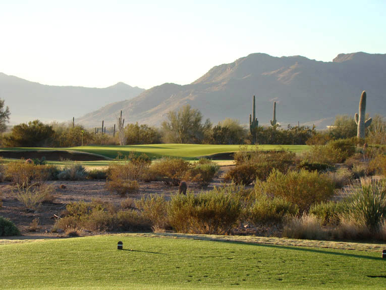 Many of the Saguaro greens feature broad slopes but the fifth hole is distinguished by its interior contours.