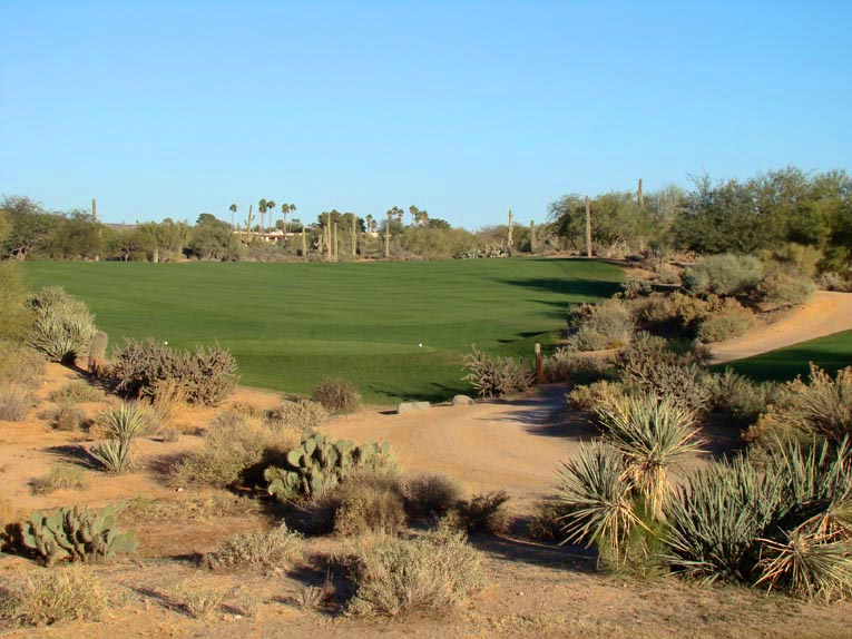 The tee ball at the first is typical of what one can expect at Desert Forest: A short forced carry that is of little concern with the real trouble being found left and right of the fairway. In this case, the fairway bends 80 degrees to the right so the golfer weighs a three wood straight or perhaps a driver to bite off a bit of the dogleg. Either way, he is unlikely to see where his ball lands as Lawrence was loath to touch the rolls found throughout the desert floor.