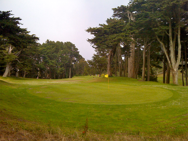 From behind the 3rd green, it's apparent that trees nearly block a straight shot to the green.