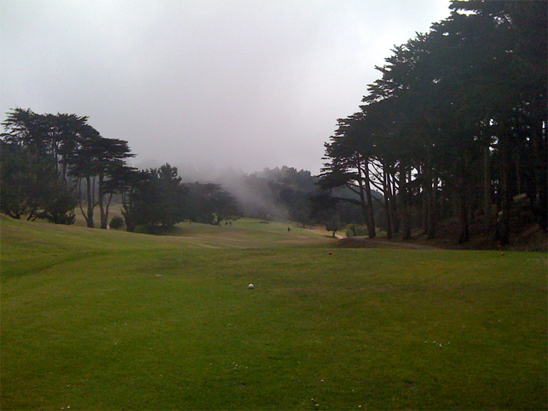 The downhill tee shot on the 4th hole.