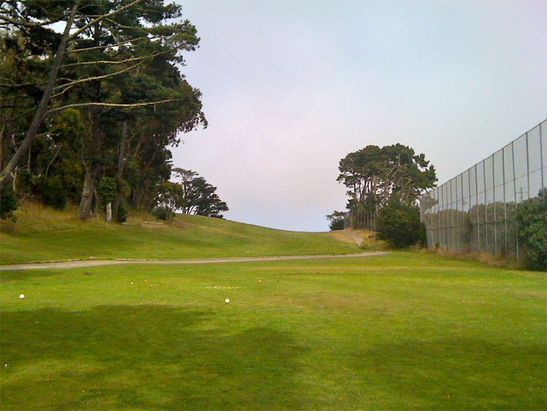 The blind tee shot on number 7.