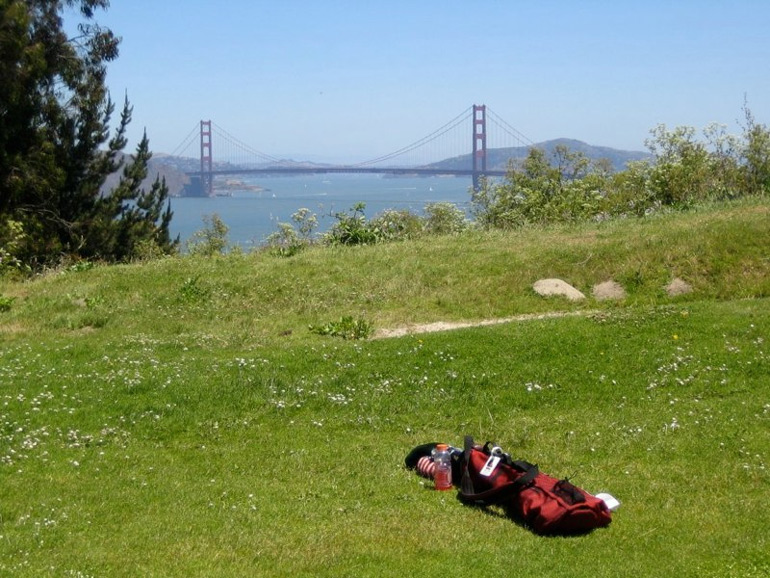 The Golden Gate Bridge from behind the 5th green.