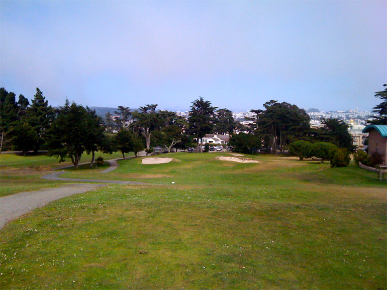 The downhill tee shot on the 8th hole.