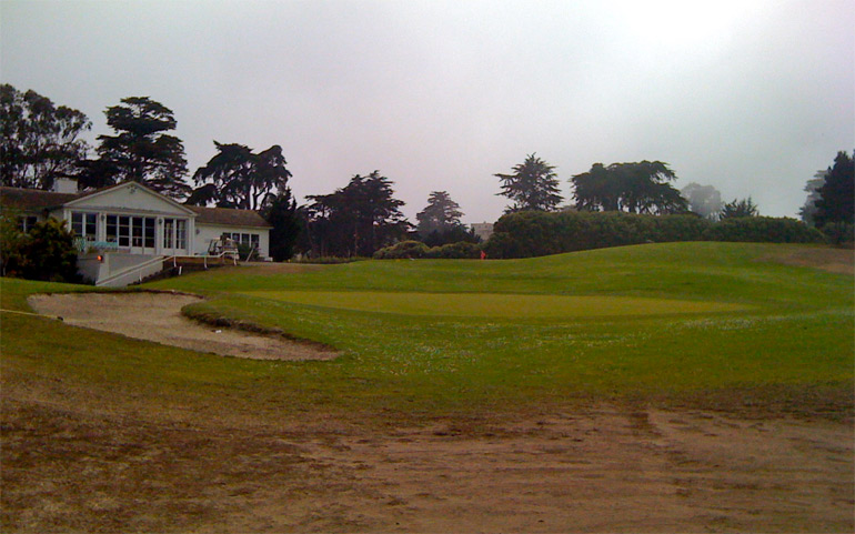 What could be a wonderful punchbowl green on number 18.