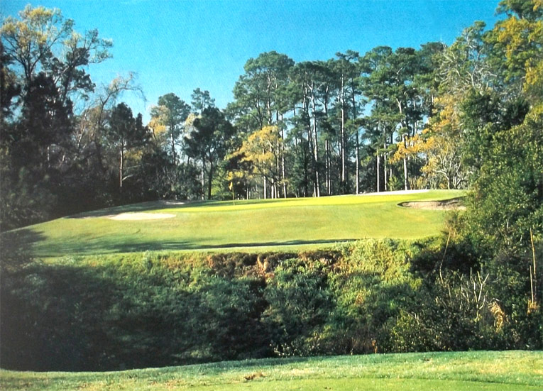 The par 3 sixth crosses a gulley and highlights the attractive property of the course.
