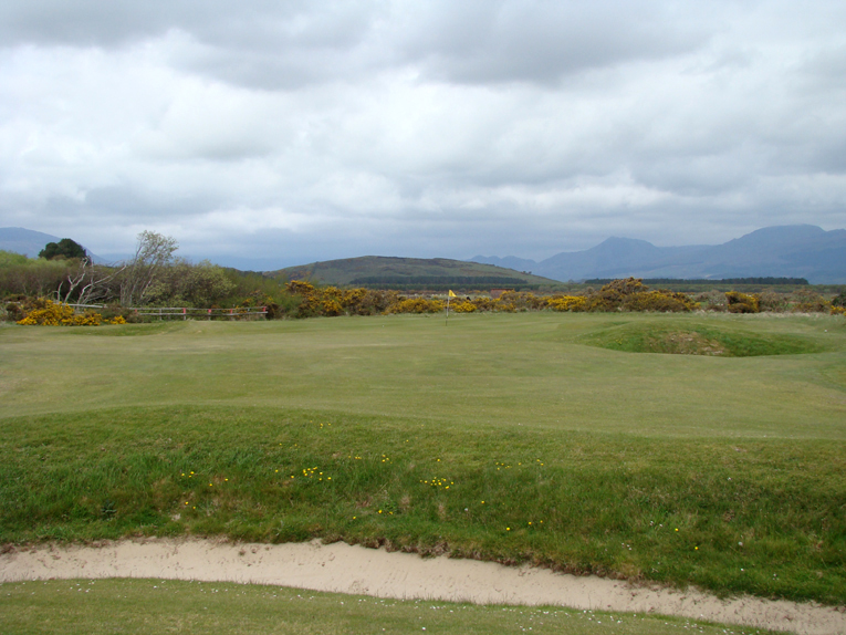 Cross hazards like this one play an important role. Only those that find the fairway off the tee are likely to clear them with their second shots. Similar hazards appear at the seventh, tenth, and seventeenth holes. Good driving is of paramount importance at Harlech.