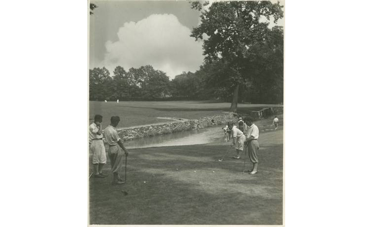 An early photo of public play at Cobb's Creek