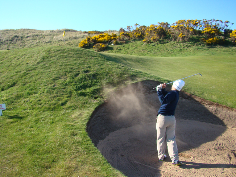 Unusual for a hole of its length, the fourth can be a card wrecker. Shots short can leave this difficult recovery from the course's deepest greenside bunker. Though sparsely bunkered, Fraserburgh's thirty-nine bunkers all count for something.