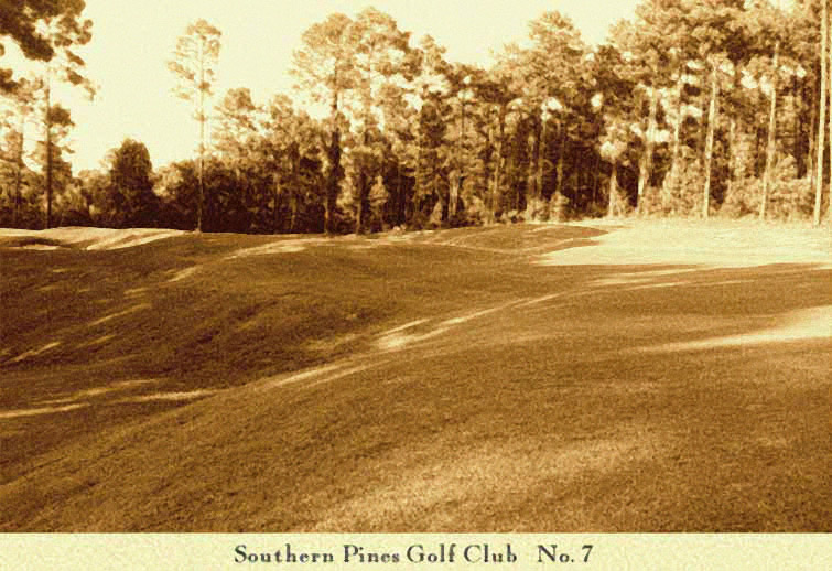 The exquisite rumbles of the landscape are much in evidence on the 7th. The angled green is center left.