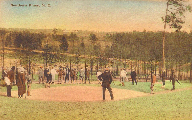 The 2nd green with the Highland Pines Inn of Weymouth Heights in the distance.