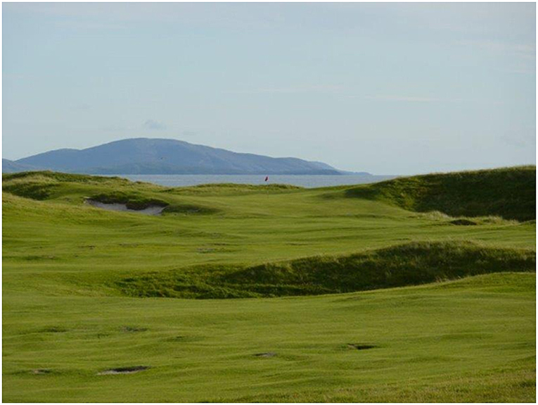 The completed 8th hole with the island of Barra in the background.