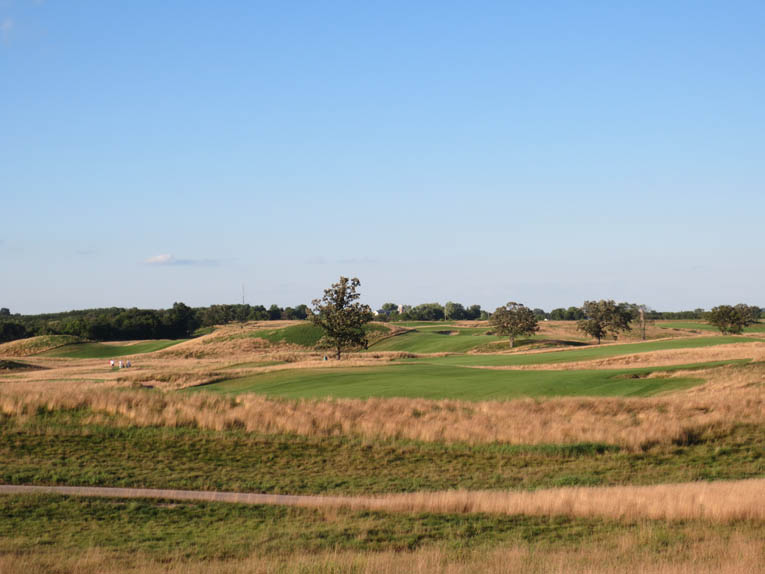 From the start, Fry was convinced that less trees was the way to go at Erin Hills. Before the 2010 season, an additional 300 trees were removed, opening up vistas such as this from the fourth hole to the eighth.