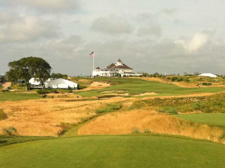 A view up the third hole at Sebonack.
