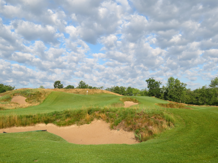 When he was one up, Patrick Cantlay hit 8-iron into this bunker from the forward tee on the 33rd hole of the final of the 2011 U.S. Amateur, made 5, and lost the hole (as well as the sixteenth and the match).