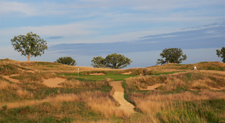 One of the most handsome holes on the course was perfectly tucked into a fold between a tall dune left and a smaller dune right.