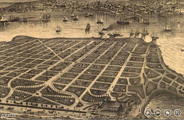 The vision of Babcock, Story, and the other investors took shape quickly after they purchased Coronado Island; this 1880s map of the island shows that very little room—virtually no room at all—was allocated for golf. (Source: CoronadoIslandHomes.com)