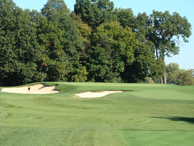 Foster is a big fan of the seventh because it epitomizes the grand scale that Alison favored. The mammoth left bunker is the largest on the course and dwarfs the golfer.