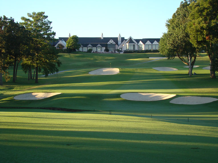 The drive is full of strategy. What to do? Play long left and stay on the high left side of the fairway? The approach will be longer but isn't nearly as uphill. Play right into the inside of the dogleg just shy of the creek? Perhaps you will draw a level lie, perhaps not.