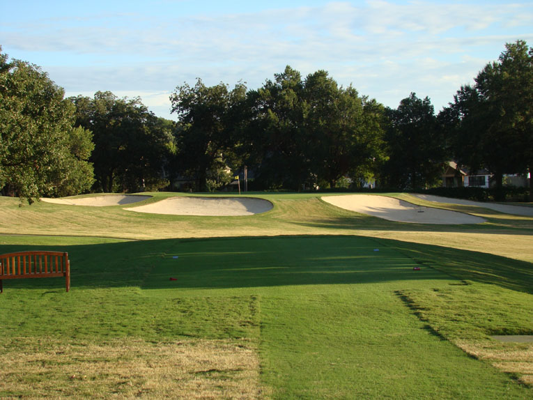 As seen from the left forward tee, the eighth hole is little beauty of a par three on the Coore & Crenshaw nine.