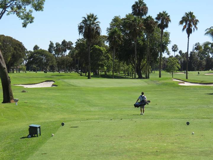 In front of the fifth green, plenty of room abounds for a low, running tee shot; the harsh back-to-front slope of the green is evident from the tee and places great emphasis on an accurate tee ball.