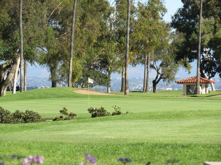 The view from the ninth tee indicates that the water closely fronts the green; closer inspection reveals…