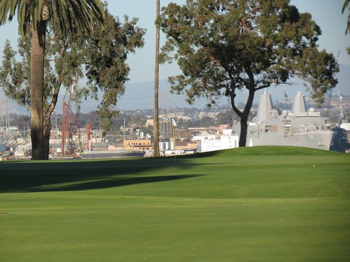 Fitting for the longest two-shotter on the course, a sea of short grass awaits a run-up approach shot to the idyllic seventeenth green. Does the view from the sixth at the California Golf Club of San Francisco come to mind?