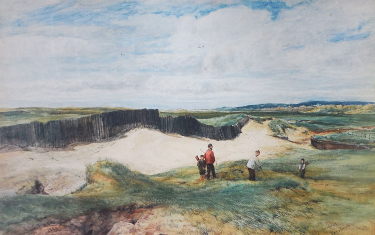 Old Tom Morris doesn't receive enough credit as a golf course architect. Just consider some of the fantastic holes and features that he created tat Prestwick. Above is J Smart's 1889 watercolor of the Cardinal bunker.