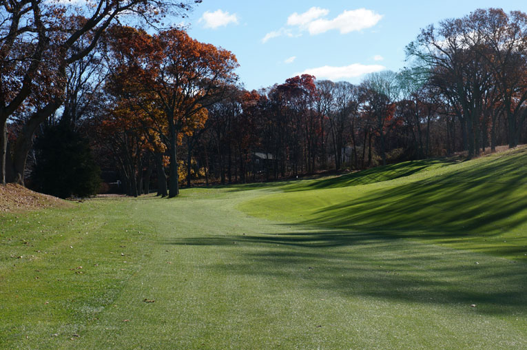 Visually, the twelfth looks like the tightest drive on the course but the fairway plays wide as tee balls kick off the right hillside.