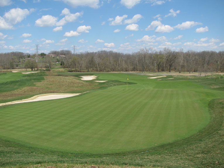 The multi tiered ninth green viewed from above
