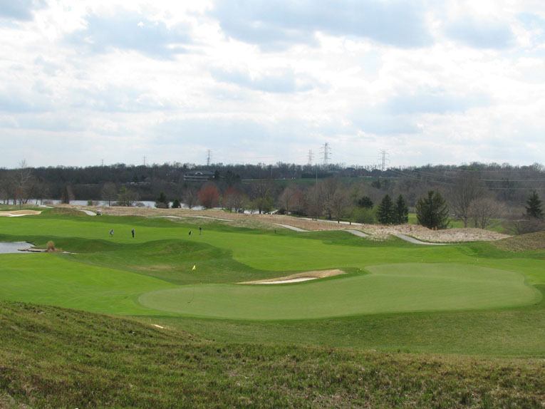 Great view of the challenges presented by the three levels of eighteen green and the fronting bunker