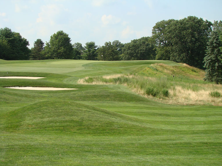 Banks uses angled greens to dictate the golfer's approach. Take the first green. It seamlessly flows from the fairway's angle for 50 yards but is only half as deep. A golfer stuck on the inside of the dogleg is highly disadvantaged compared to the player in the fairway who enjoys a fine view/play down the length of the green.
