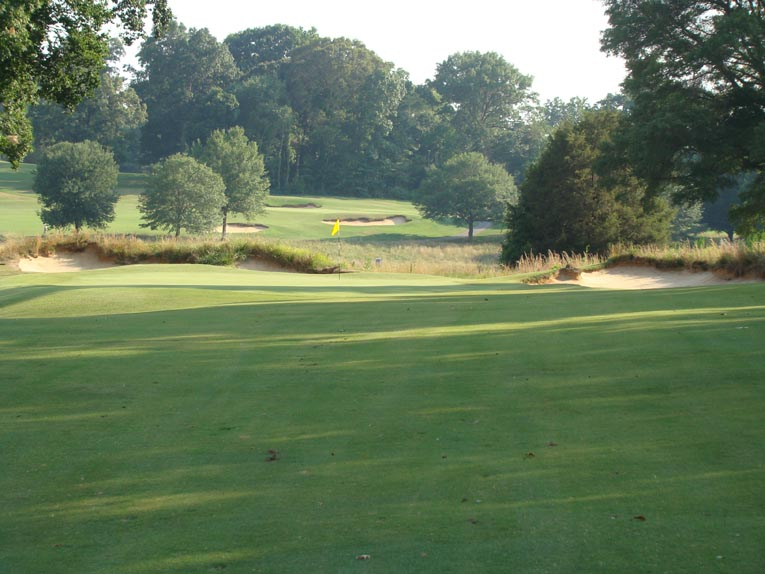 From the right side, this pleasant view encourages bold thoughts of a pitch and putt birdie.
