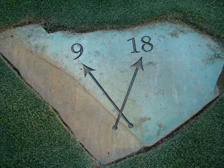 The ninth and eighteenth holes share a common teeing ground. Rather than clutter up the area with a bunch of closely placed tee markers, the inspired decision was to use only one set and have them broadly placed. It works wonderfully well at a private club like Old Town where the number of full rounds is less than 15,000 per year.