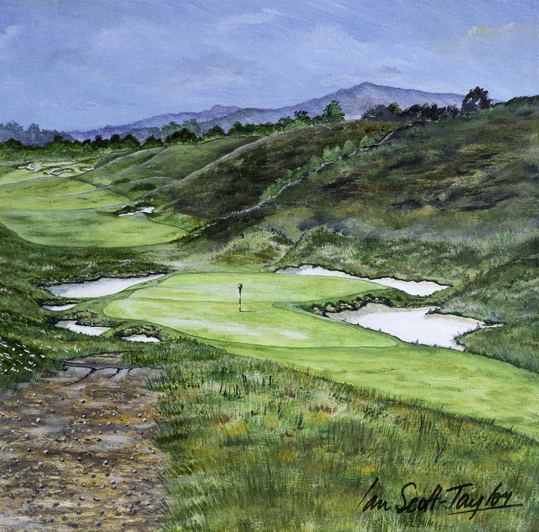 Artist Ian Scott-Taylor captures the famous Duel Hole in the foreground with the 8th hole at SFGC beyond.