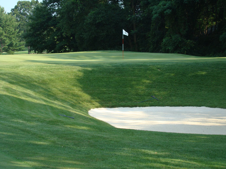 Playing angles and strategy abound at Whippoorwill. Note how the contoured green  allow shots to feed down to this tough right hole location.