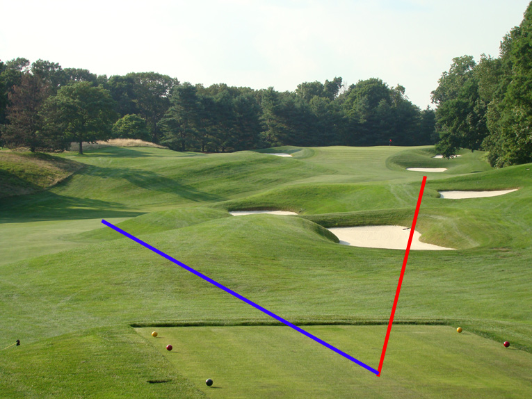 Every golfer hits somewhere between the two lines as seen above. The blue is the safe path off the tee to the lower left fairway while the red one is the riskier from the tee but offers future rewards.