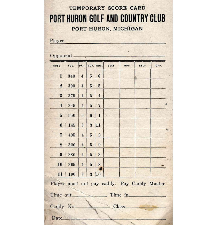 11-hole scorecard of Alison & Bendelow 1922 Course PHGC