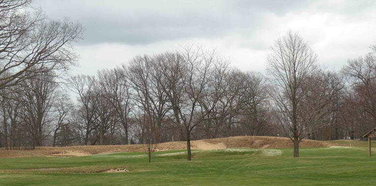 Eighth green with original Alison dune bunker, the fourth fairway passes below Bing Maps